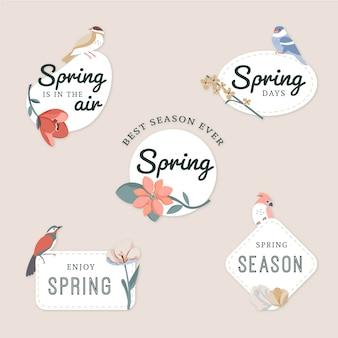 Coleção de distintivo de primavera em design plano