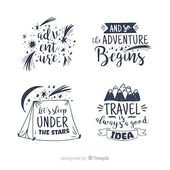 Coleção de distintivo de rotulação de viagens com citações