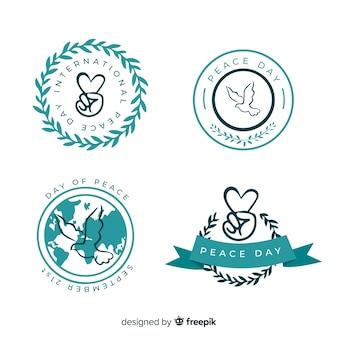 Coleção de distintivo de sinais de paz e símbolos