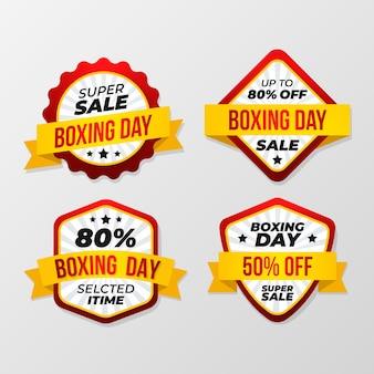 Coleção de distintivo de venda de dia de boxe de design plano