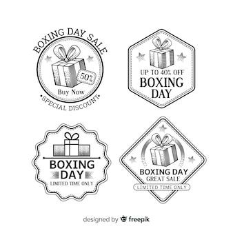 Coleção de distintivo de venda de dia de boxe vintage