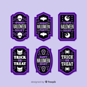 Coleção de distintivo de venda de halloween plana em roxo