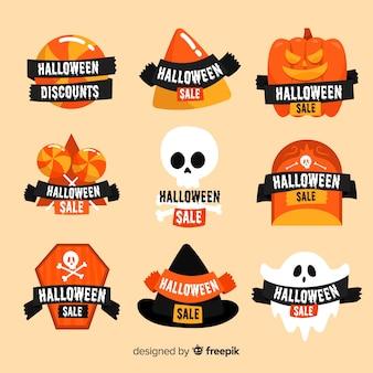 Coleção de distintivo de venda de halloween plana