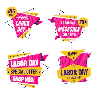 Coleção de distintivo de venda do dia do trabalho