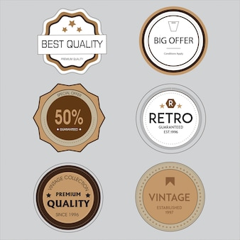 Coleção de distintivo de vendas retrô