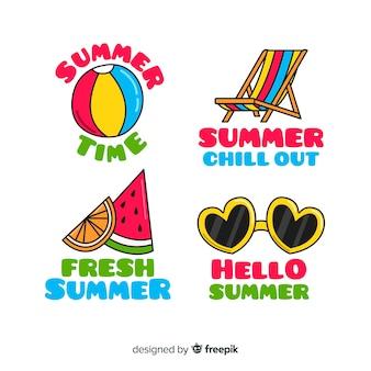 Coleção de distintivo de verão colorido mão desenhada