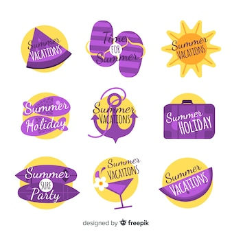 Coleção de distintivo de verão plana