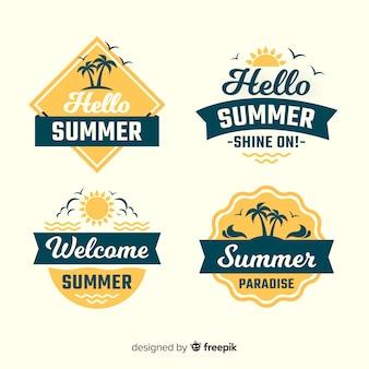 Coleção de distintivo de verão vintage
