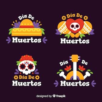 Coleção de distintivo dia de muertos em design plano