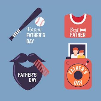 Coleção de distintivo do dia do pai plana