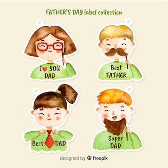Coleção de distintivo do dia dos pais em aquarela