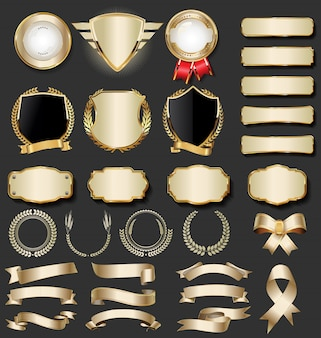 Coleção de distintivo dourado de luxo