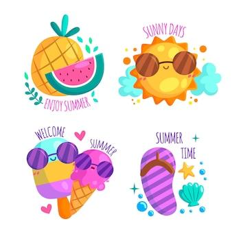 Coleção de distintivo feliz de horário de verão