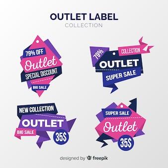 Coleção de distintivo moderno outlet com design plano