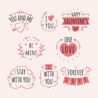 Coleção de distintivo para dia dos namorados