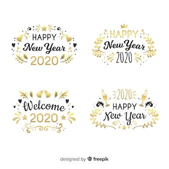 Coleção de distintivo plana ano novo 2020