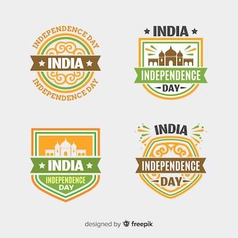 Coleção de distintivo plana índia dia da independência