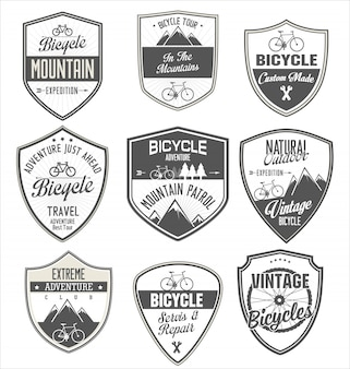 Coleção de distintivo retrô de bicicleta