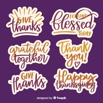 Coleção de distintivos de ação de graças feliz