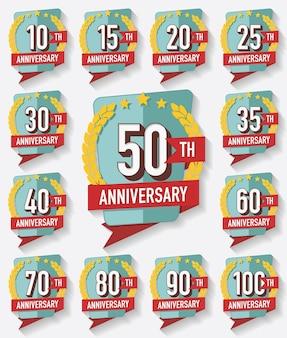 Coleção de distintivos de aniversário