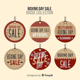 Coleção de distintivos de círculo de dia de boxe