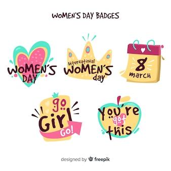 Coleção de distintivos de dia das mulheres
