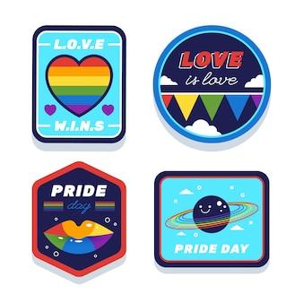 Coleção de distintivos de dia de orgulho de ilustrações