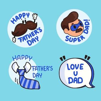 Coleção de distintivos de dia dos pais de design plano