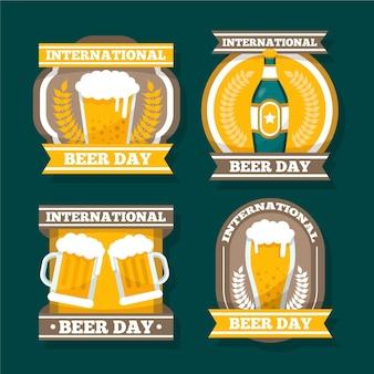 Coleção de distintivos de dia internacional da cerveja plana
