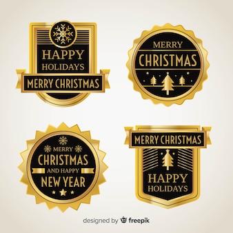 Coleção de distintivos de elementos dourados de natal