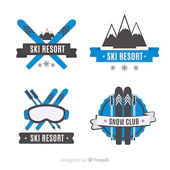 Coleção de distintivos de esqui e neve plana