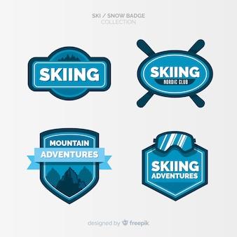 Coleção de distintivos de esqui e neve