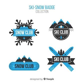 Coleção de distintivos de esqui-neve