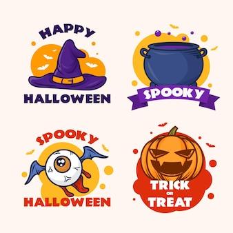 Coleção de distintivos de halloween desenhada à mão