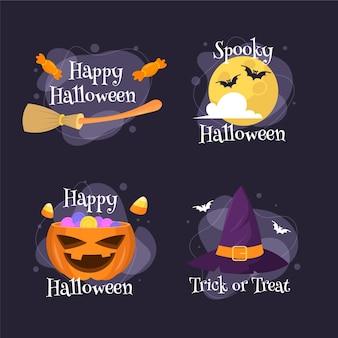 Coleção de distintivos de halloween em design plano