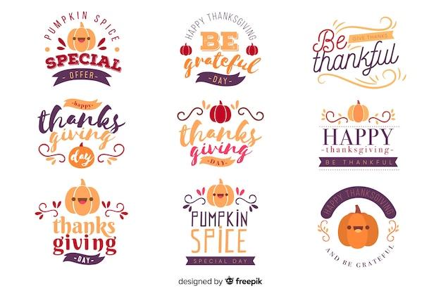 Coleção de distintivos de letras de ação de graças feliz