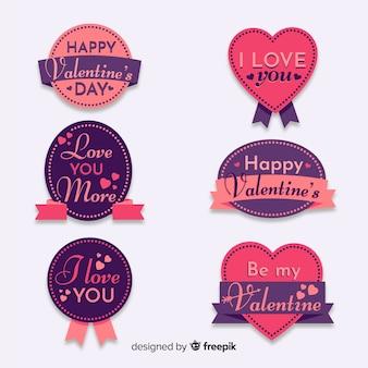 Coleção de distintivos de letras de dia dos namorados