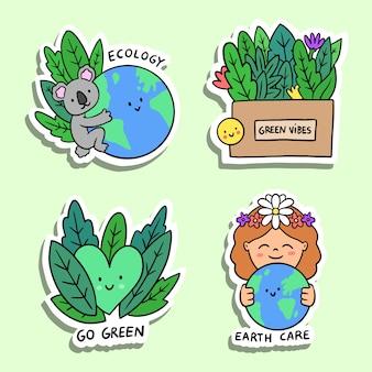 Coleção de distintivos de mão desenhada ecologia