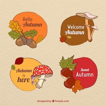 Coleção de distintivos de outono na mão desenhada estilo