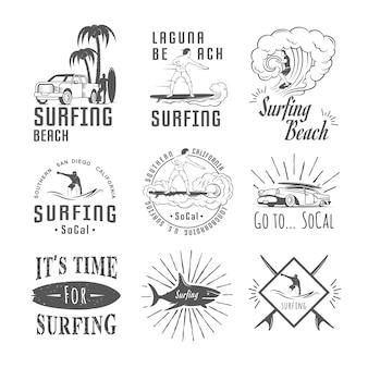 Coleção de distintivos de surf