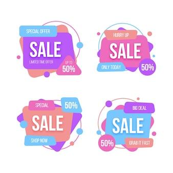 Coleção de distintivos de venda colorido gradiente
