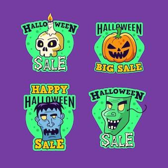 Coleção de distintivos de venda de halloween desenhada