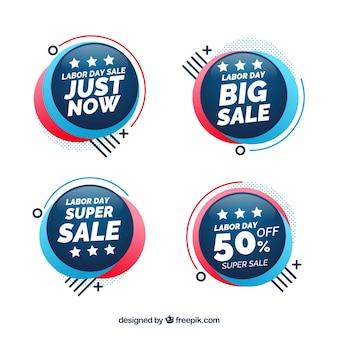Coleção de distintivos de venda do dia do trabalho