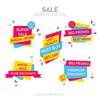 Coleção de distintivos de venda em estilo simples