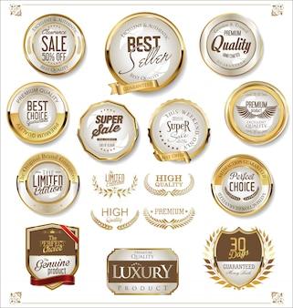 Coleção de distintivos de venda retrô dourado