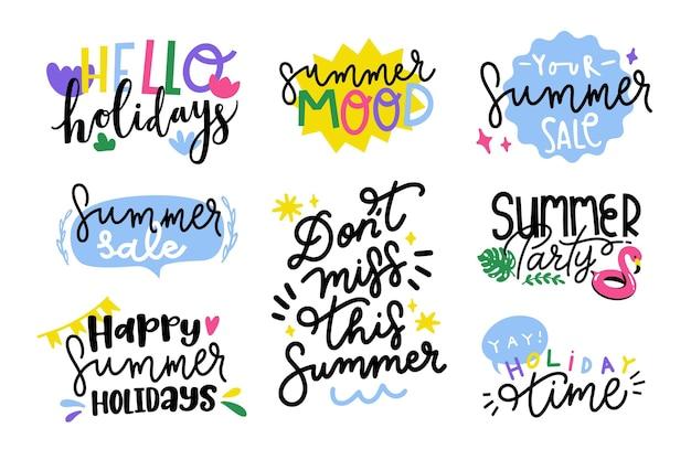 Coleção de distintivos de verão design plano