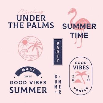 Coleção de distintivos de verão mão desenhada