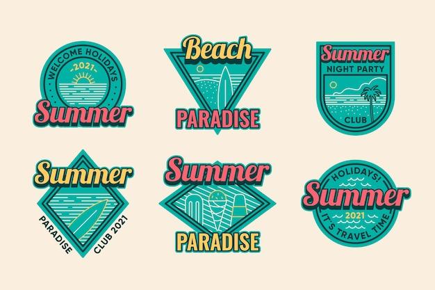 Coleção de distintivos de verão vintage