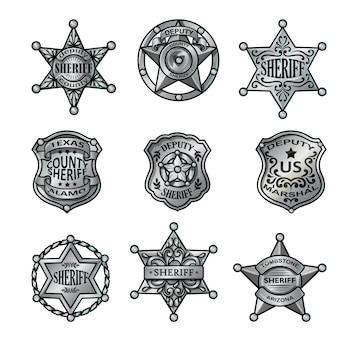 Coleção de distintivos de xerife de prata