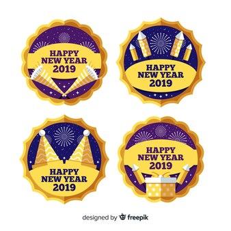 Coleção de distintivos do círculo novo ano